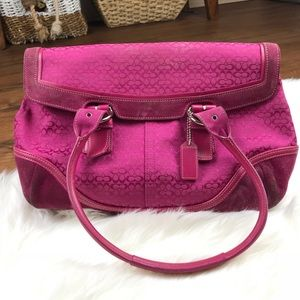 Coach Pink Suede and Canvas Satchel Purse